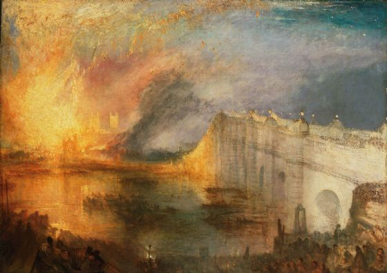 Turner, Joseph Mallord William: The Burning of the Houses of Lords and Commons, October 16, 1834. Fine Art Print/Poster. Sizes: A1/A2/A3/A4 (004122)
